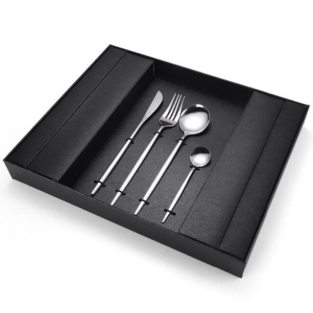 24pcs Luxury Golden Stainless Steel Cutlery Set Shiny Gold Tableware Set With Luxury Gift Box Dinner