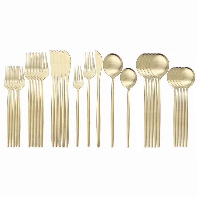 30Pcs Matte Black Gold Tableware Set 304 Stainless Steel Dinnerware Set Kitchen Flatware Set Western Knife Fork Spoon Cutlery