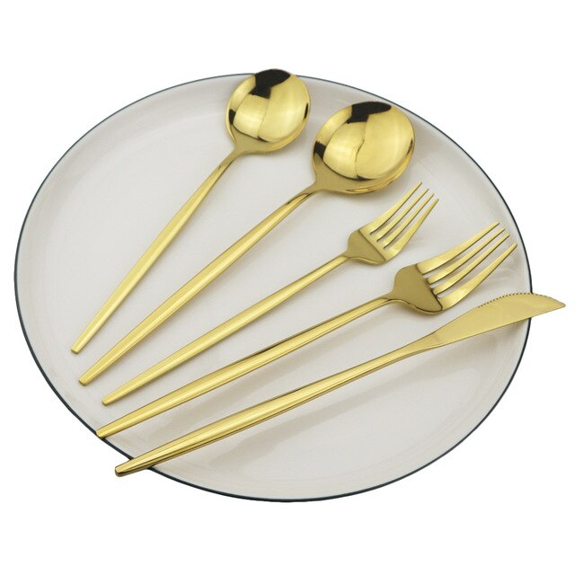 4set/20pcs Black Gold Dinnerware Set 18/10 Stainless Steel Cutlery Set Knife Dessert Fork Spoon Silverware Kitchen Tableware Set