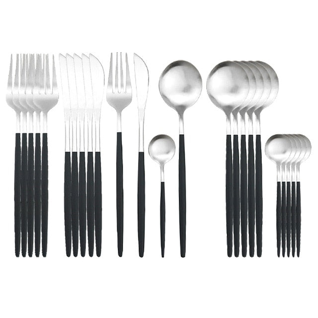 Black Silver Tableware Set 18/0 Stainless Steel Cutlery Set 24/pcs Knife Fork SpoonDinnerware Set Kitchen Party Silverware Set