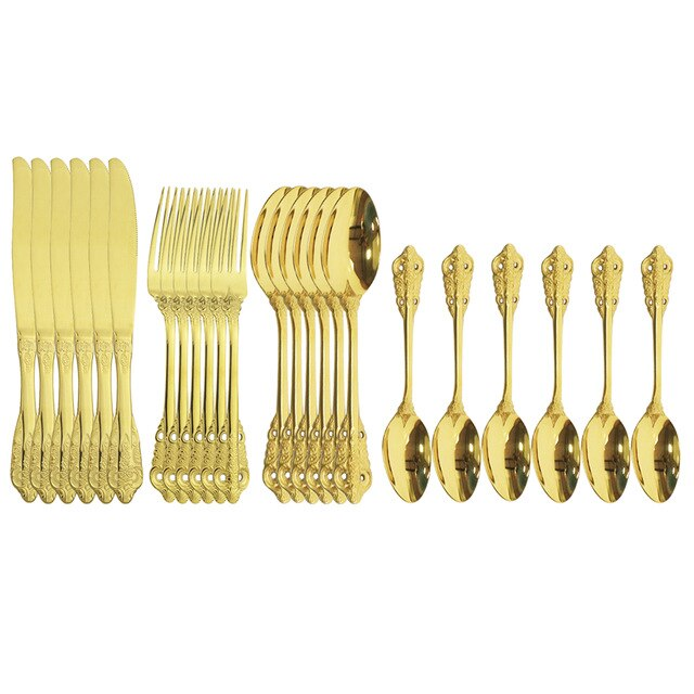 24Pcs Shiny Gold Cutlery Set Dinnerware Set Flatware Cutlery Kitchen Fork Knife Stainless Steel Silverware Home Tableware Set