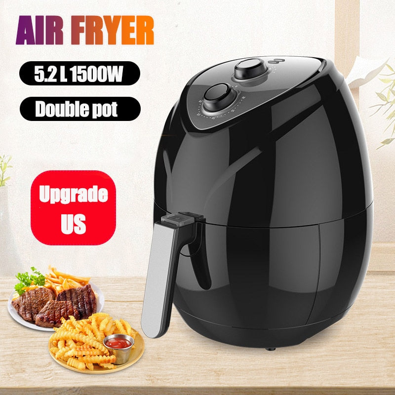 1500W 5.2L Oil free Air Fryer Eletric Deep Airfryer Health Cooker Airfryer Pizza Multi function Smart Fryer for French fries