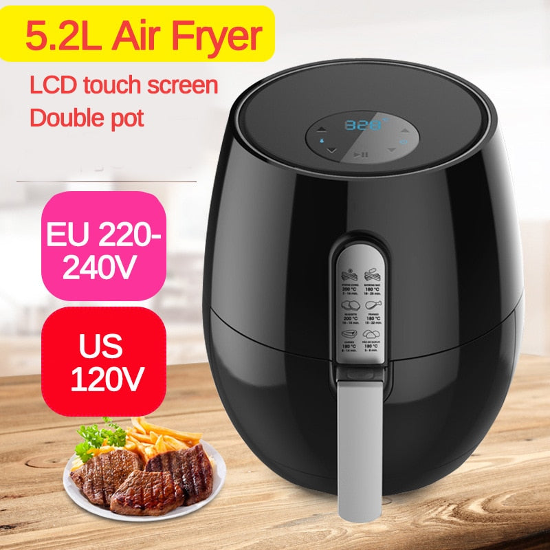 1350W Electric Deep Fryer Air Fryer Digital LED Touch Screen Timer Temperature Control Power Air Fryer Eletric Air Frier