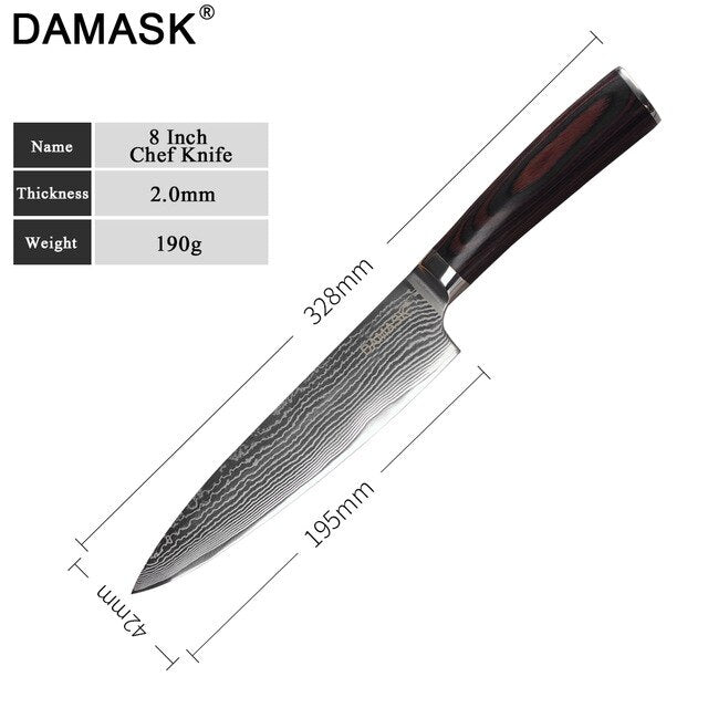 DAMASK Santoku Damascus Steel Knife High Hardness G10 Color Wood Handle Japan Kitchen Knives Meat Cleaver Slicing Chef Knives