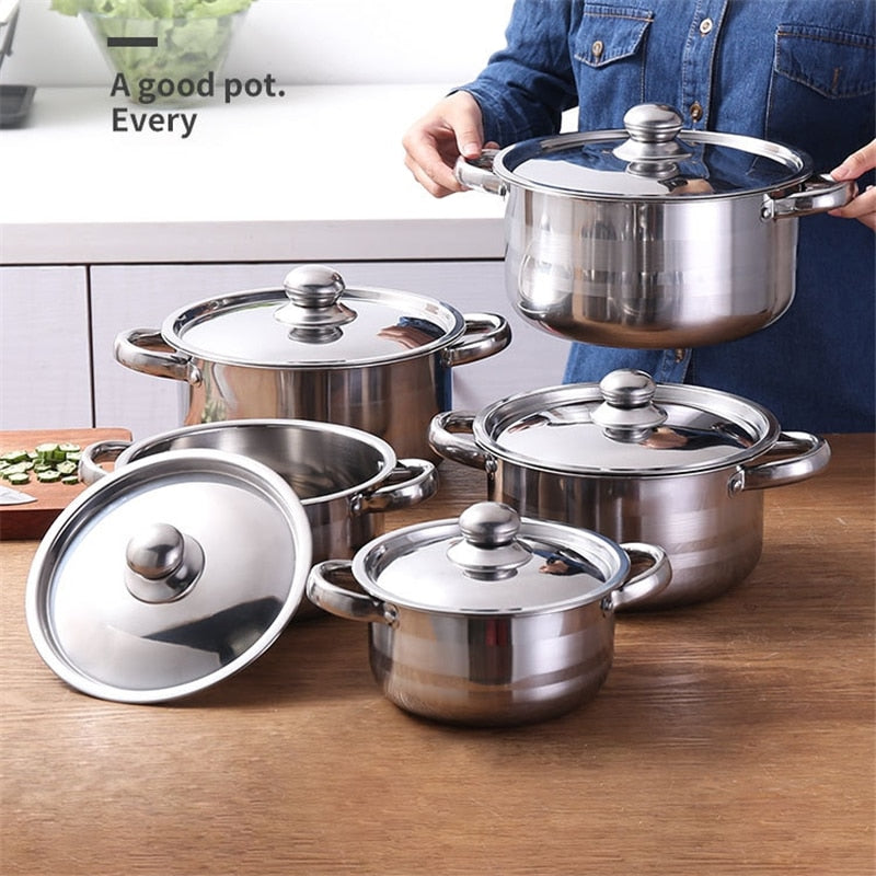 5 IN 1 Stainless Steel Kitchen Cookware Set Cooking BBQ Pot Set With 5 Lids 16 18 20 22 24cm General Use For Induction Cooker