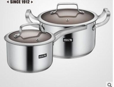 Stainless steel pot 3pcs milk pot soup pot frying pot combination cookware set kitchen pot