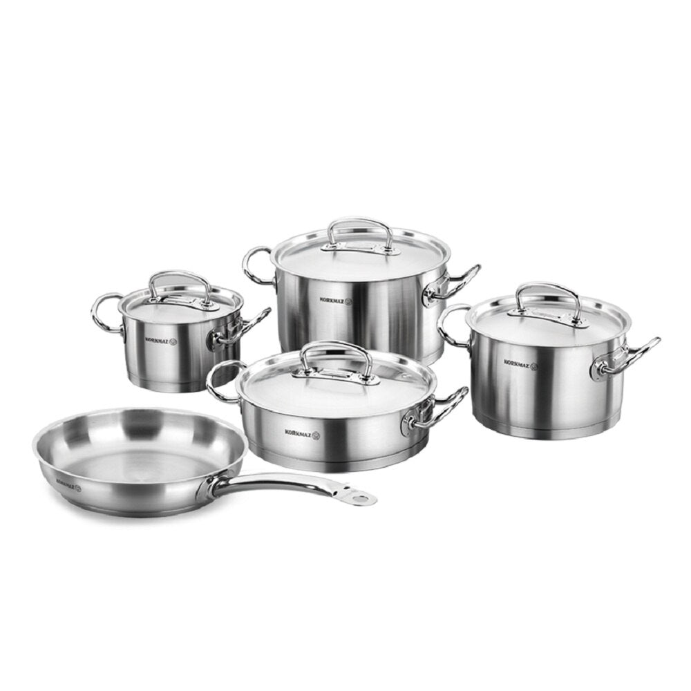 Korkmaz A1150 Proline Cookware 9 Pieces Set , Stainless Steel, Capsule Base , Non Stick , Lid, stainless Steel with Cookware