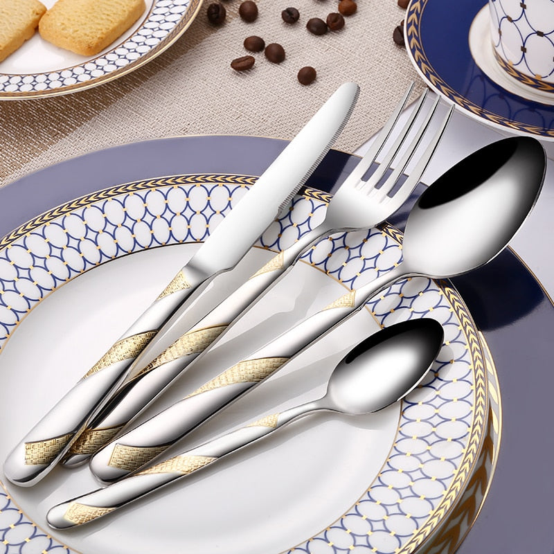 24Pcs Stainless Steel Gold Plated Cutlery Set Dinnerware Tableware Silverware Dishwasher Safe  Dinner Fork Knife