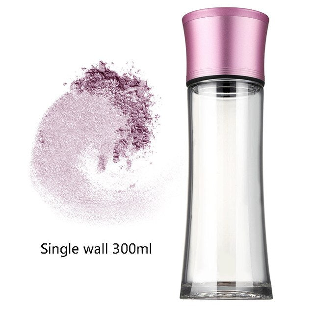 Fashion Lady Double Wall Glass Water Bottle Transparent Heat Resistant Lead-free Heat Resistant Flower Tea Drinkware Pink Black