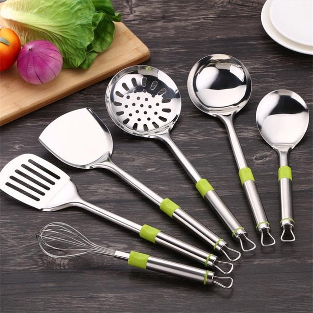 6pcs Cooking Tools Kitchen Utensils Stainless steel Kitchenware Cook Tool Cookware Accessories Soup Ladle Leak Shovel Gadgets