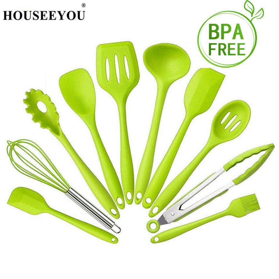 HOUSEEYOU 10Pcs Kitchenware Cooking Tool Sets 100% Food Grade Silicone Safe Heat Resistant Non-Stick Kitchen Cook Baking Utensil