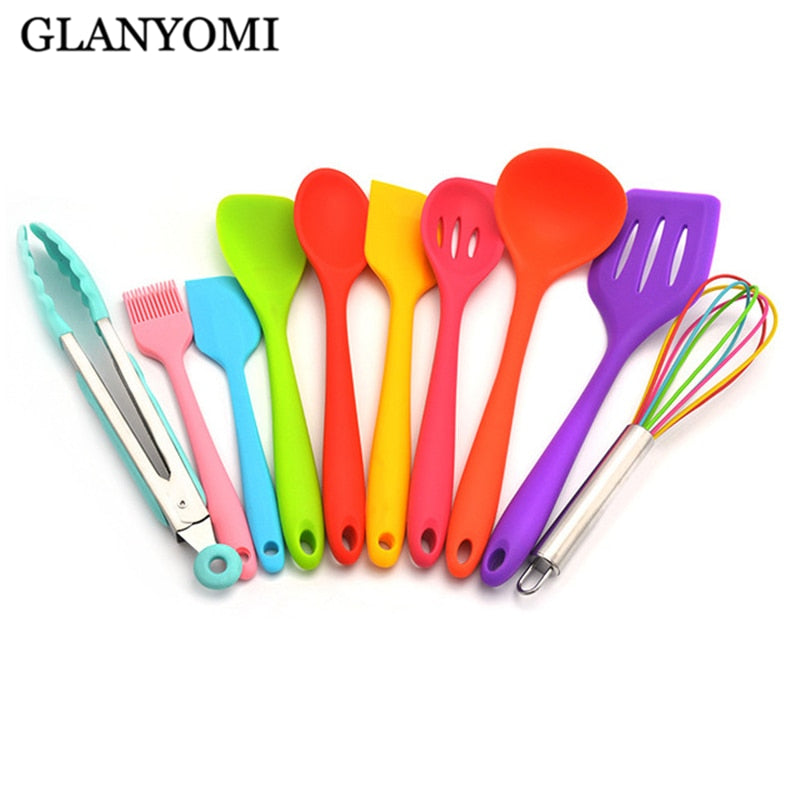 Rainbow 10Pcs/Set Heat-Resistant Silicone Cooking Tool Sets Non-stick Cookware Kitchen Baking Tool Kit Utensils Kitchenware