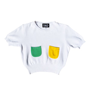 D&G Knit Crop Top (White/Multi) UK 8-12