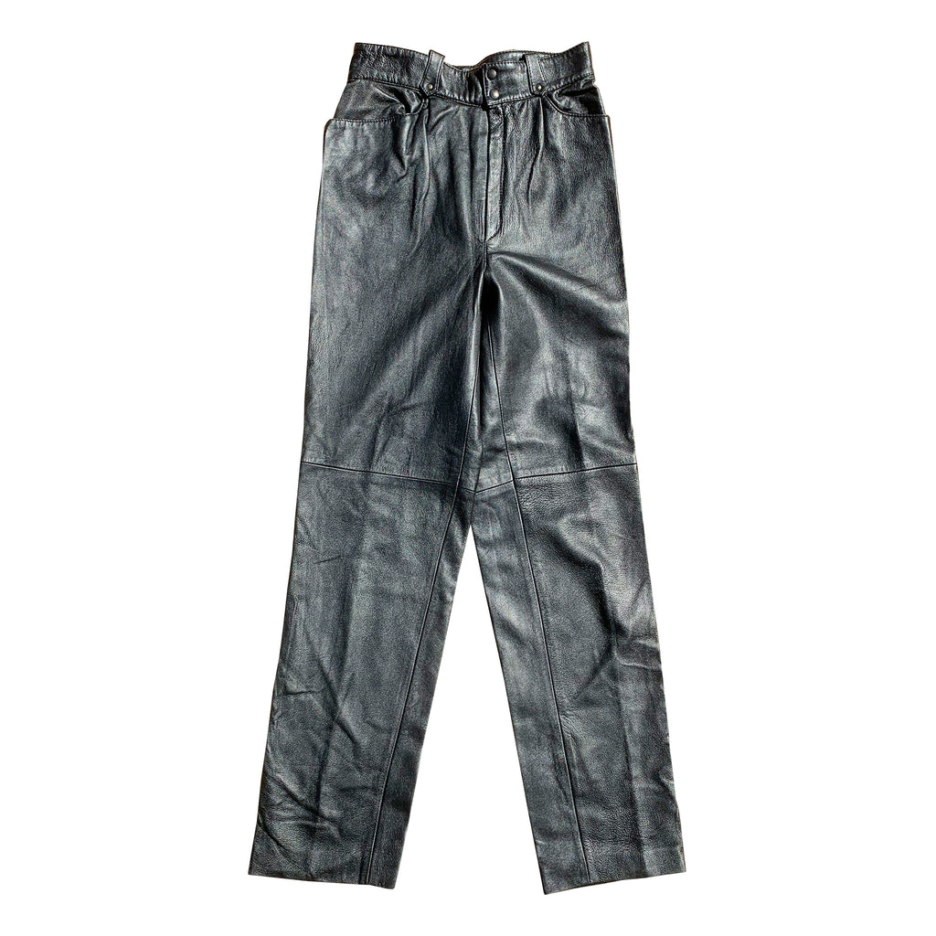 Vintage Leather Trousers (Black) UK 10