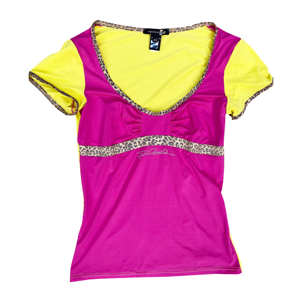 Roberto Cavalli Top (Pink/Leopard) UK 8