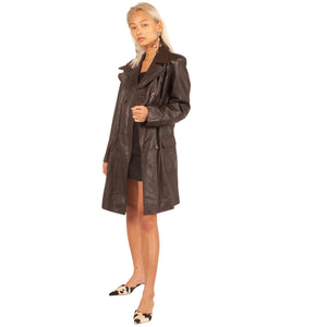 Leather Trench Coat (Brown) UK 10-12