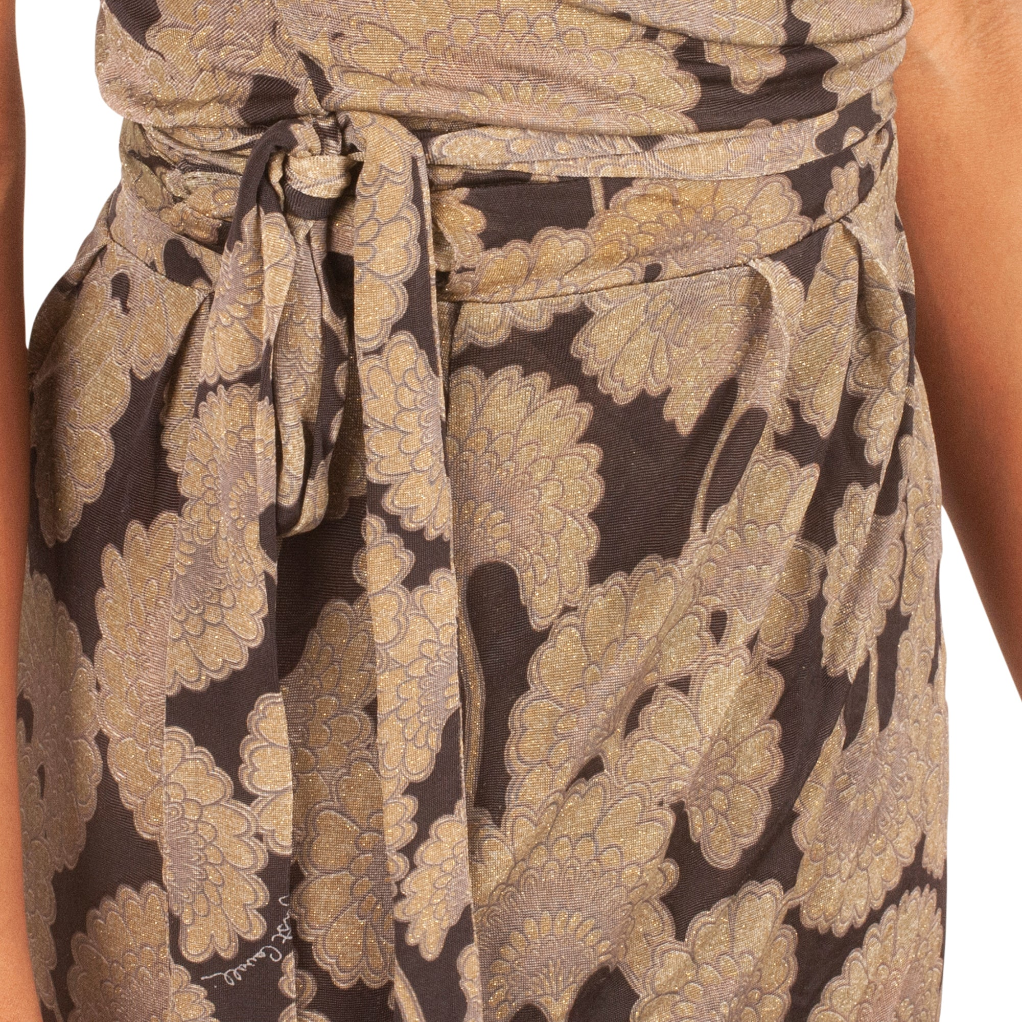 Roberto Cavalli Floral Dress (Black/Gold Shimmer) UK 8-10
