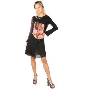 Custo Long Sleeve Top (Black/Multi) UK 6-10
