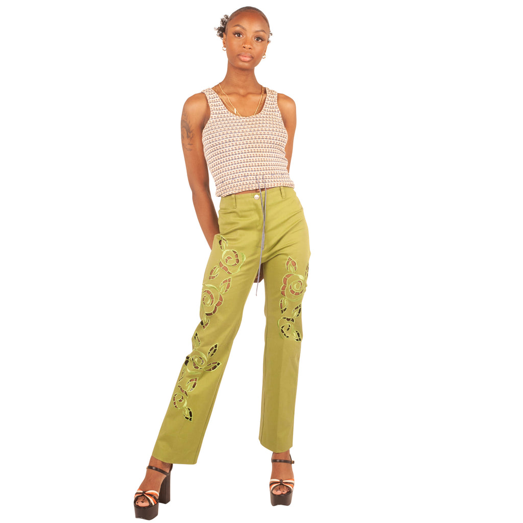 Cut-Out Floral Trousers (Green) UK 6