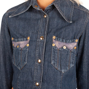 Dolce and Gabbana Reworked Denim Shirt (Indigo Wash) UK 6-8