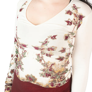 Versace Floral Top (Off White/Multi) UK 6-10