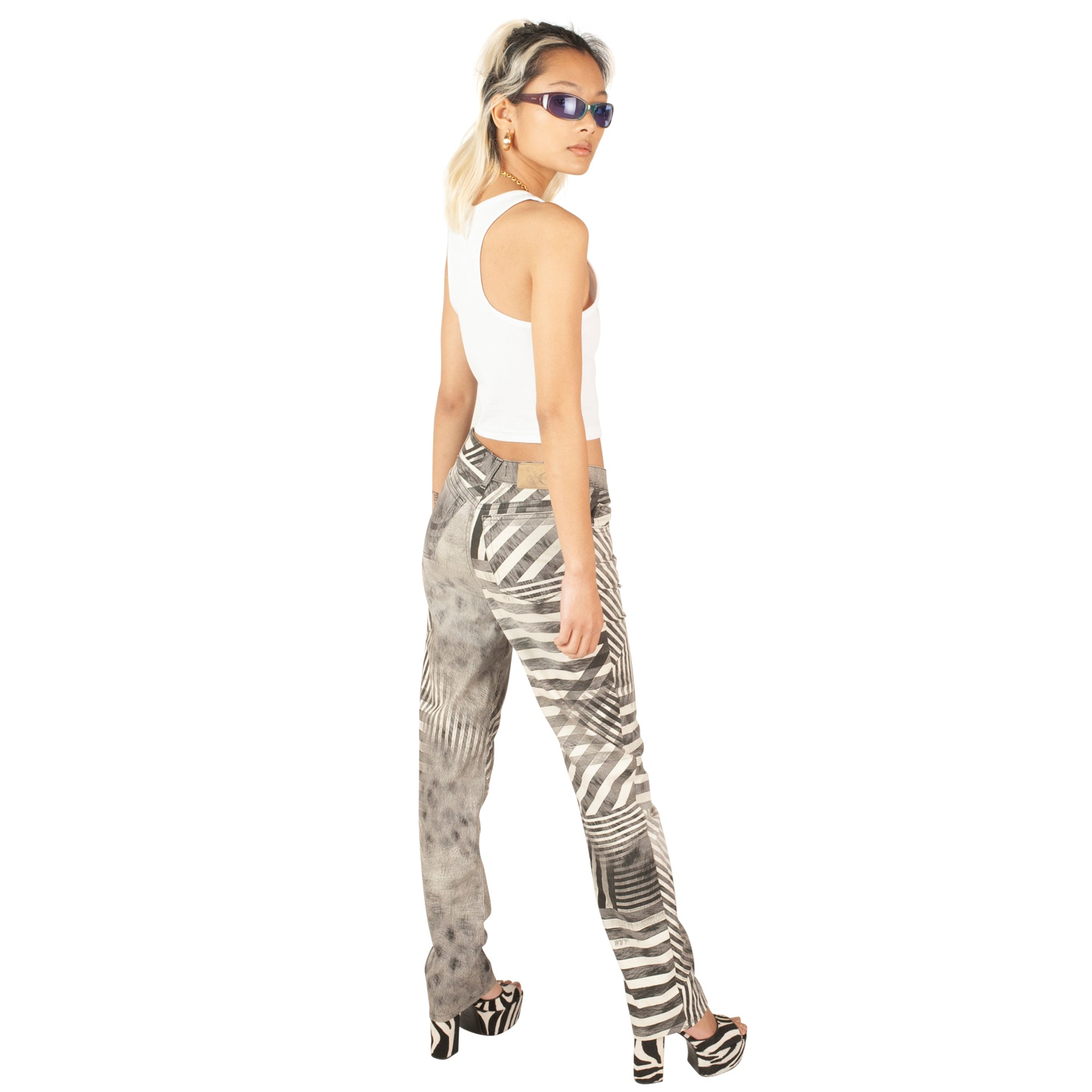 Roberto Cavalli Psychedelic Trousers (Black/White) UK 10