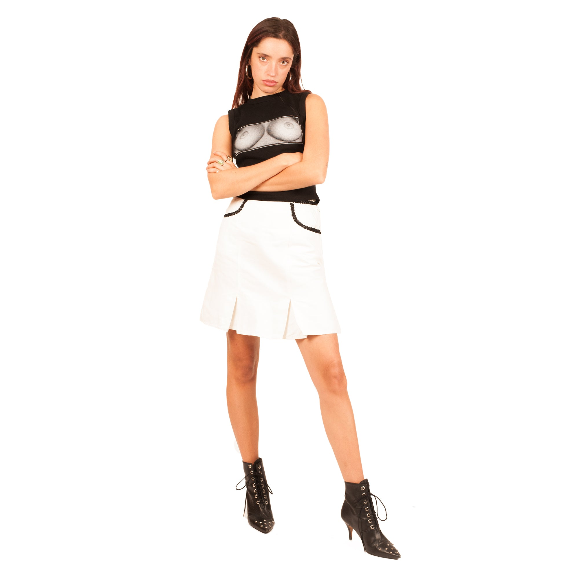 Moschino Lace Pocket Skirt (White/Black) UK 6