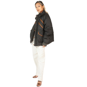 Roberto Cavalli Puffer Jacket (Black/Brown) UK 10-12
