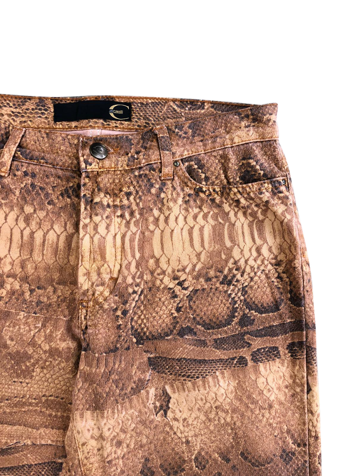 Roberto Cavalli Snake Print Jeans (Brown) UK 12