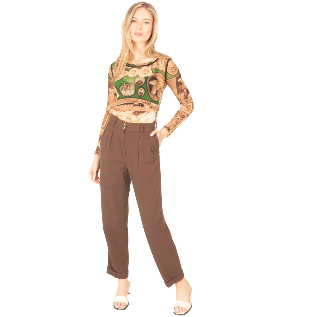 Kenzo Pleated Trousers (Brown) UK 10
