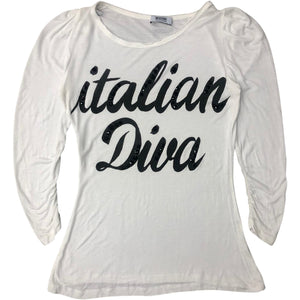 Moschino Diva Long Sleeve T-Shirt (White) UK 8-10