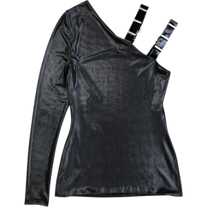 Versace Wet Look Top W/ PVC Strap (Black) UK 6-8