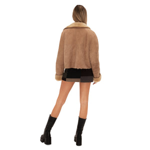 Suede Fur Trim Coat (Tan) UK 6-10