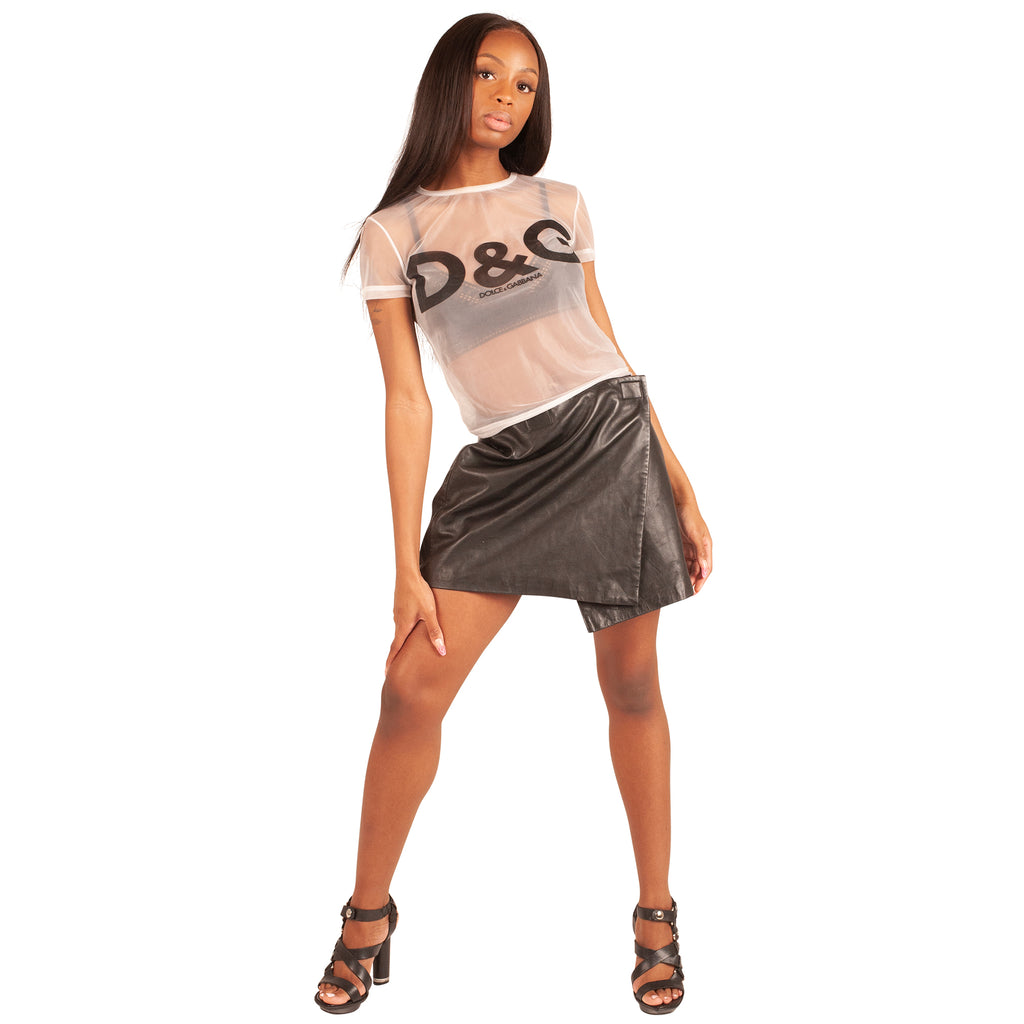 Dolce and Gabbana Sheer Logo Top (White) UK 6-8