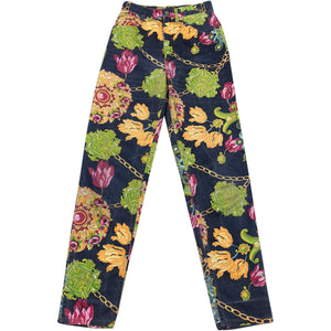 Roberto Cavalli Floral Chain Trousers (Navy/Multi) UK 6-8