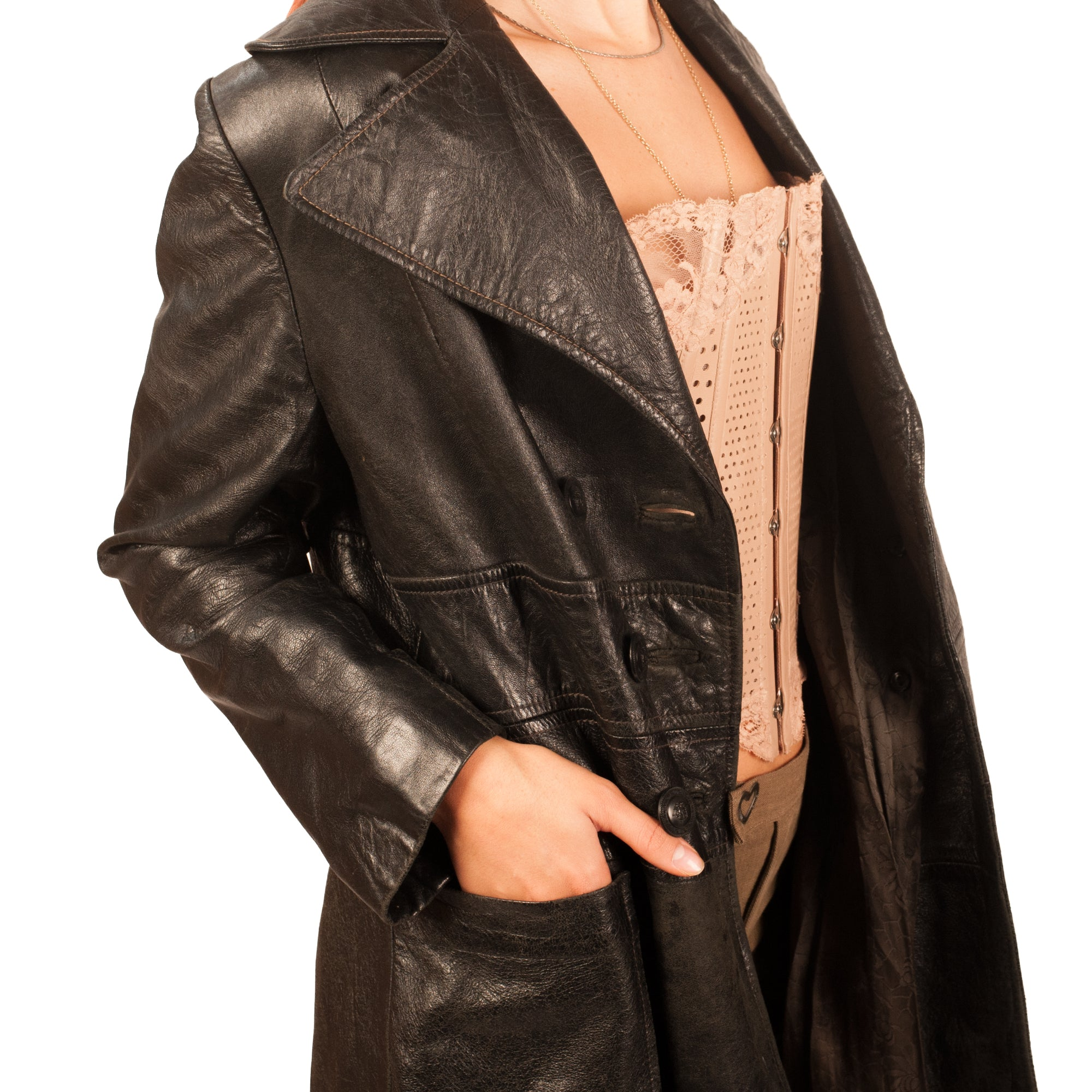 Leather Trench (Black) UK 6-10