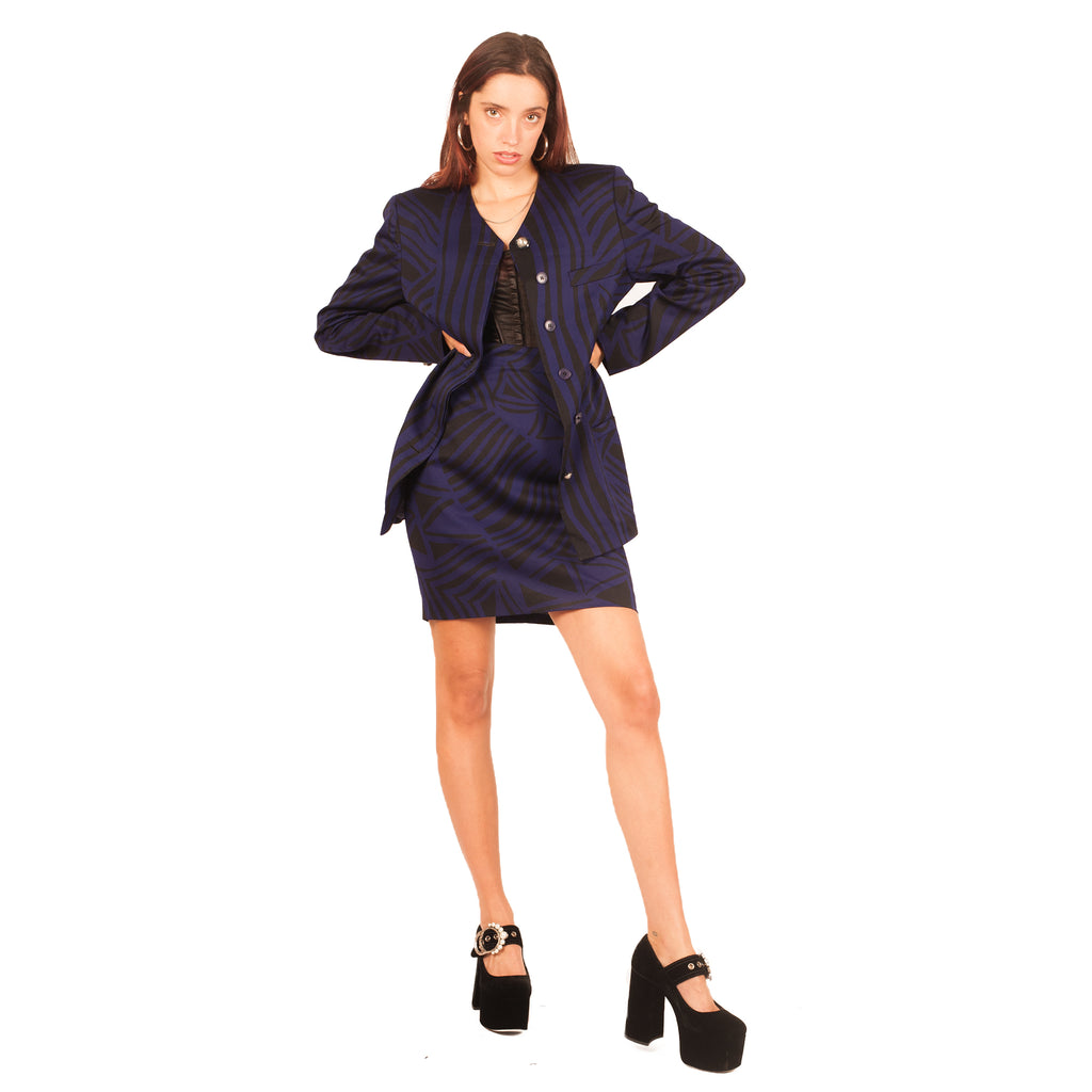 Gianni Versace Skirt Suit (Purple/Black) UK 8-10