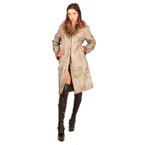 Cavalli Fur Trim Coat (Multi) UK 6-10