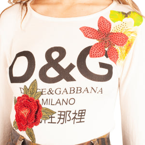 Dolce and Gabbana Flower Long Sleeve T-Shirt (White) UK 8-10