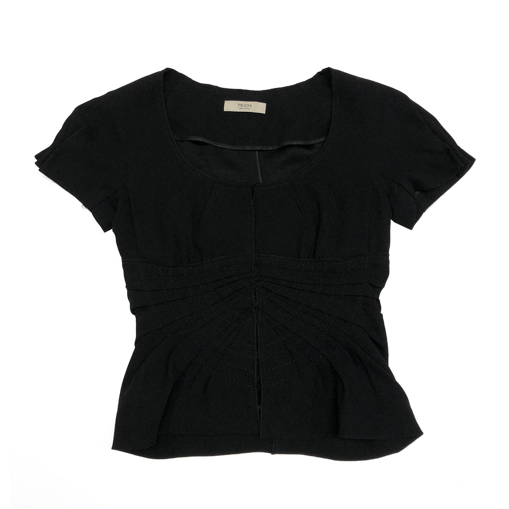 Prada Black Hook And Eye Top (Black) UK 8/10