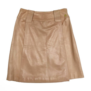 Chanel Butter Leather Panel Skirt (Apricot) UK 12