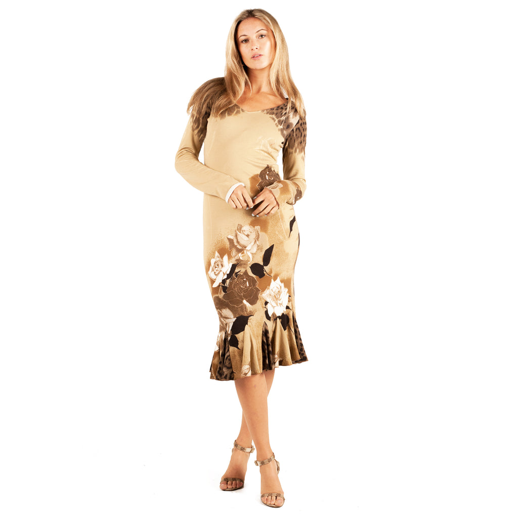 Roberto cavalli Leopard Rose Dress (Brown) UK 6-10