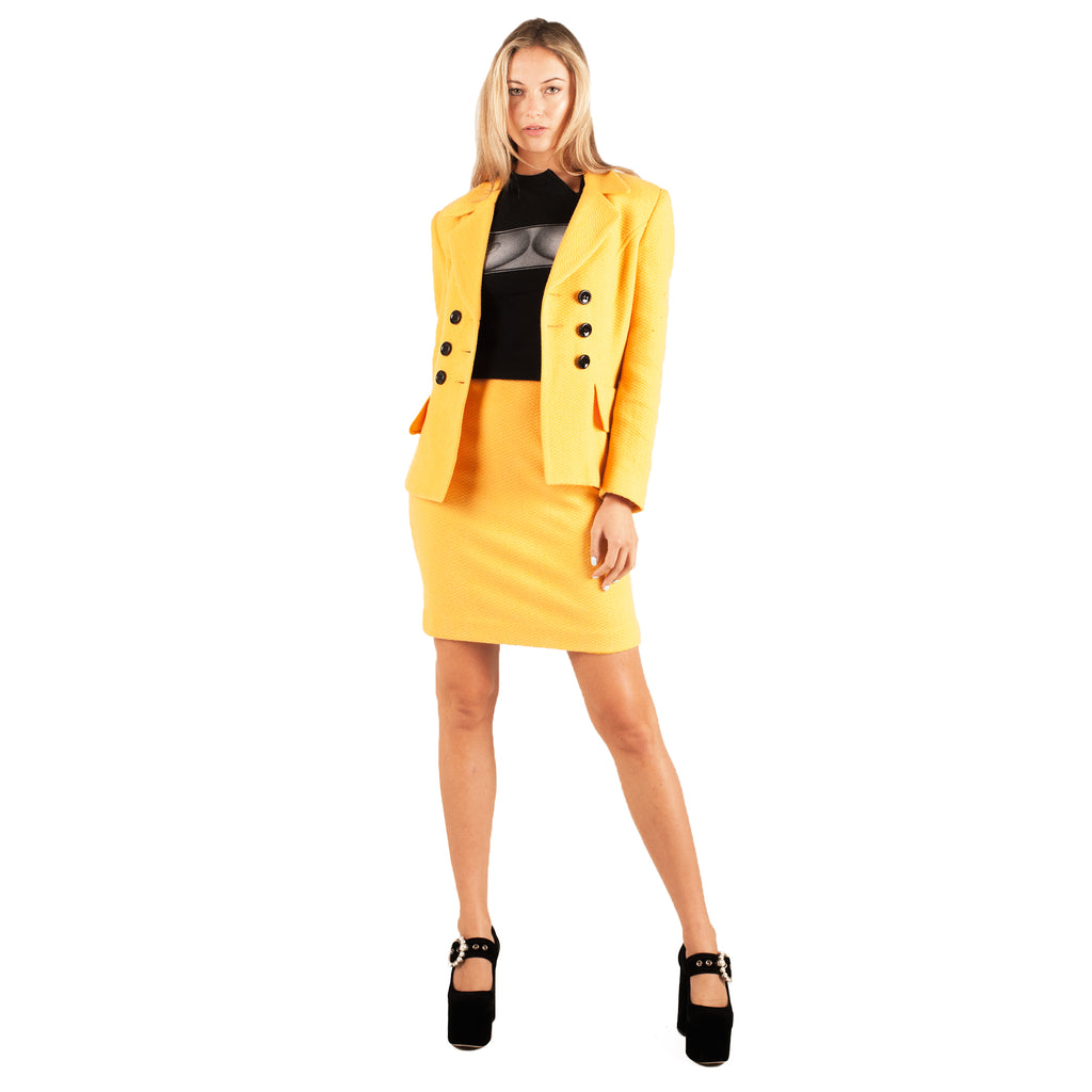 Vintage 70's Textured Skirt Suit (Yellow/Black) UK 6-8