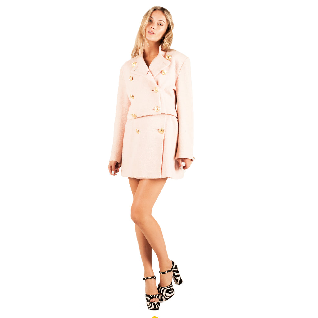 Wool Mini Skirt Suit (Pink) UK 6-8
