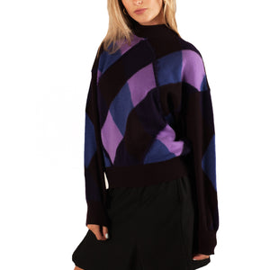 Versace Harlequin Mock Neck Jumper (Purple/Blue) UK 6-10