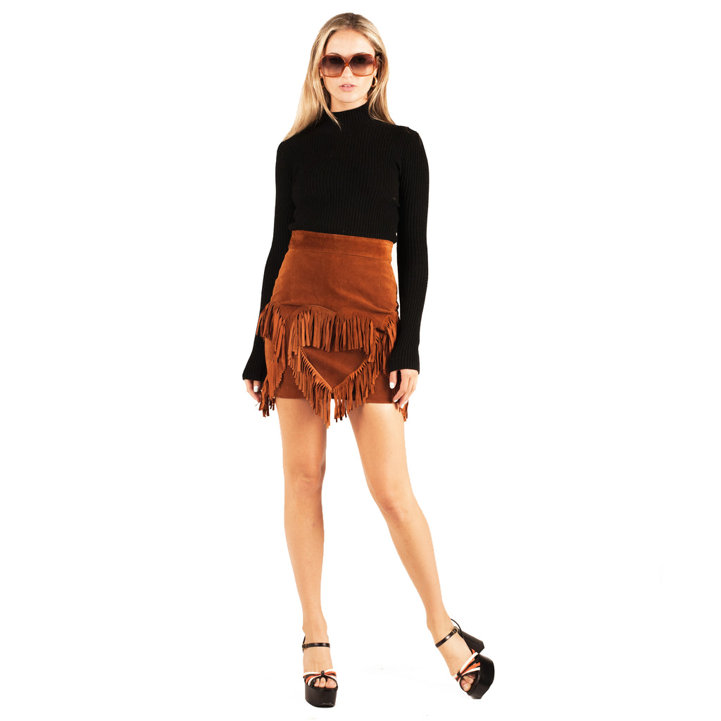 Moschino Heart Tassel Mini Skirt (Tan) UK 6-10