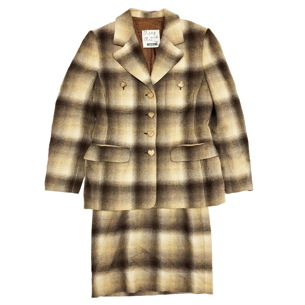 Moschino 2-Piece Suit (Brown Check) UK 8