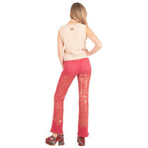 Rocco Barocco Shimmer Jeans (Red/Gold) UK 10