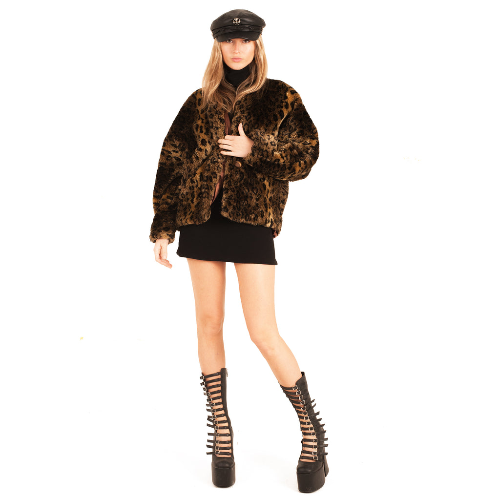 Leopard Fur Coat (Multi) Uk 8-12