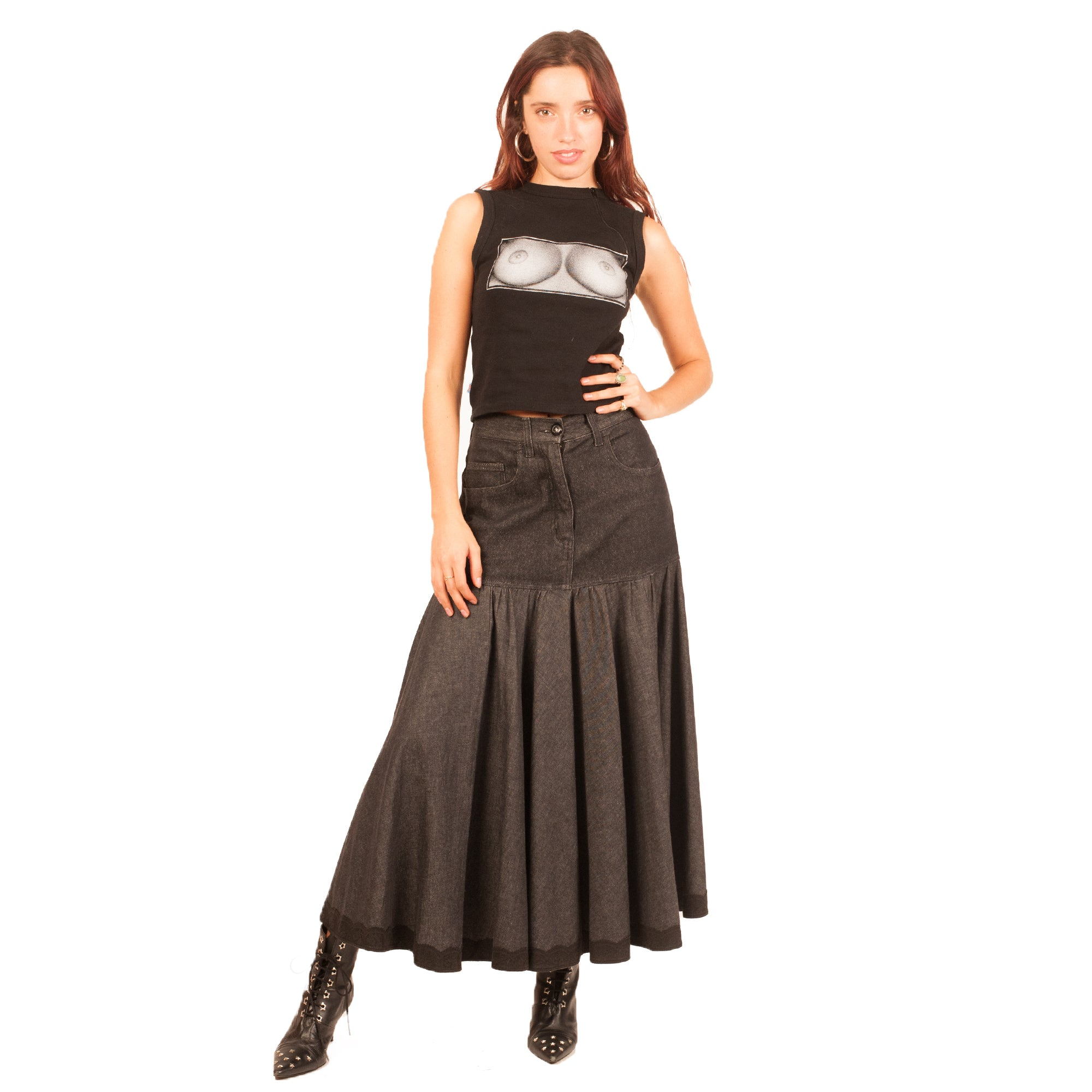 Moschino Denim Skirt (Black) UK 10.